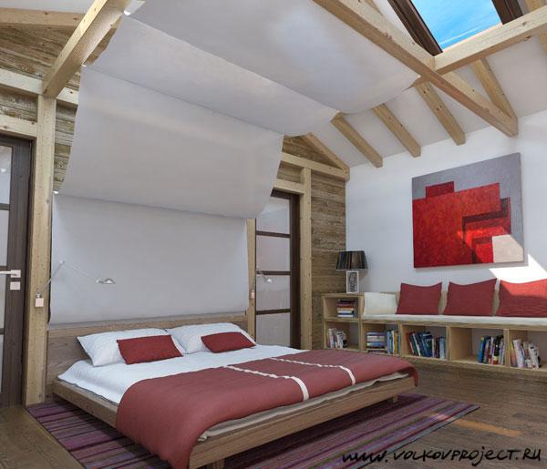 Эскиз интерьера спальни в мансардном этаже многоэтажного жилого дома. на...