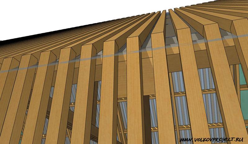 проект деревянной беседки | фрагмент светопрозрачной обрешётки