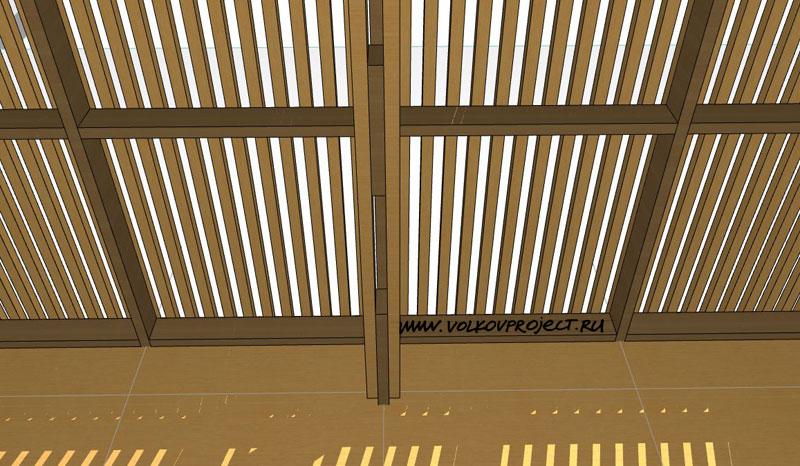 проект деревянной беседки | вид изнутри, столовая зона