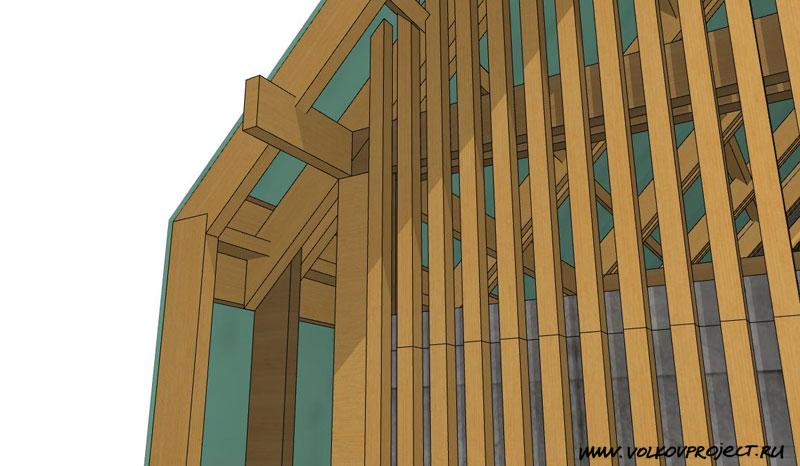проект деревянной беседки | конструктивный узел