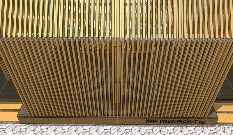 проект деревянной беседки | вид светопрозрачной обрешётки фасада